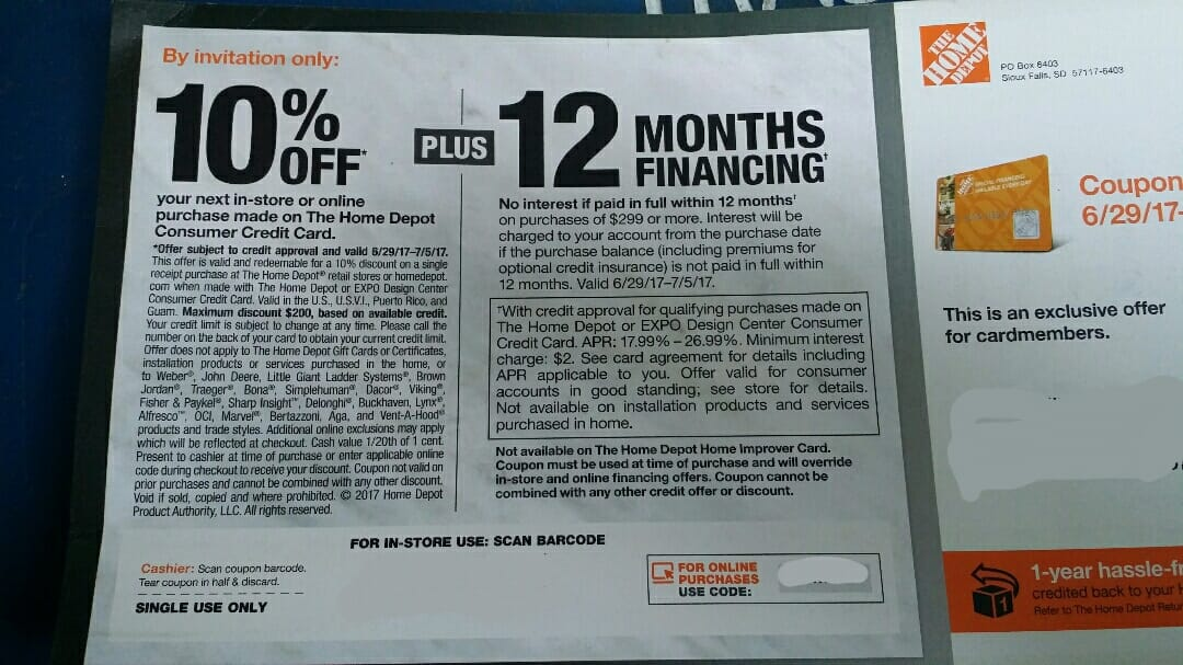 Home Depot Targeted 10 Off Or 12 Months Interest Free For Card