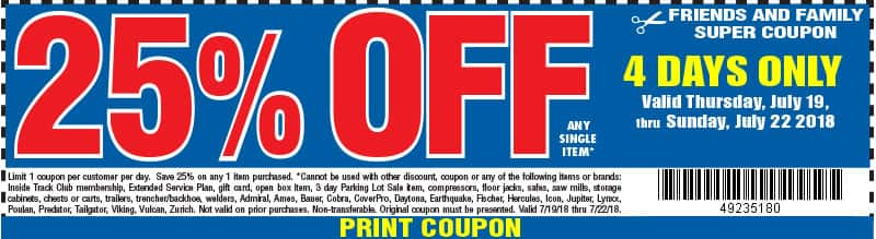 Harbor Freight 25% coupon July 19- 22 only