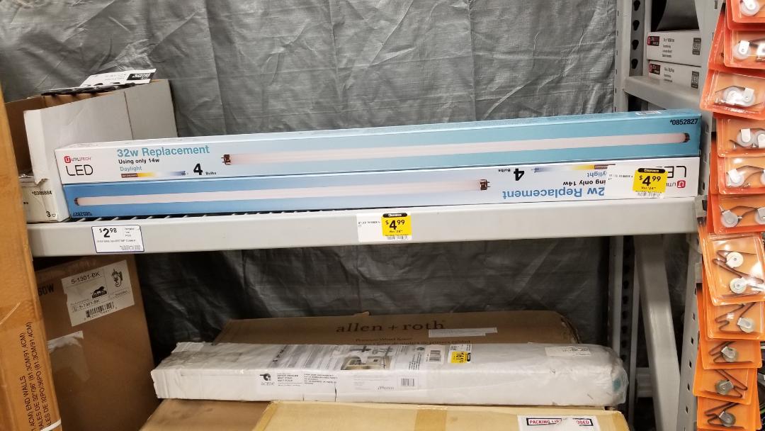 LOWES Utilitech 32 W T8 LED bulbs 4-pack 4.99 B&M YMMV