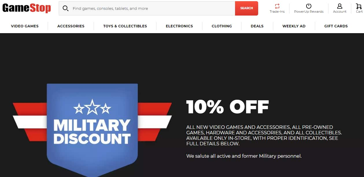 Military Discount Gamestop 10% Off