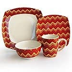 16-Piece American Atelier Zigzag Porcelain Dinnerware Set (red or green) for $29.99 + free shipping w/ prime