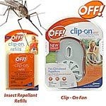 OFF! Clip-On Fan Mosquito Repellent or 4-Count Refills $2.98 shipped