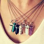 Vintage Hexagonal Pendulum Gemstone Column Quartz Necklace Pendant $1.39 Shipped