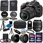 Nikon D3200 Digital SLR Camera Black Kit w/ 18-55mm AF-S VR DX Nikkor Zoom Lens + Accessories $385 Shipped