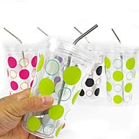 13deals.com Deal: 5 pk of 16 oz BPA Free Double Wall Insulated Tumblers w/ Stainless Steel Straws $10 + free shipping