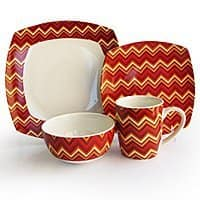 Amazon Deal: 16-Piece American Atelier Zigzag Porcelain Dinnerware Set (red or green) for $29.99 + free shipping w/ prime