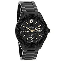 Shnoop Deal: Bulova Women's Crystal Chronograph Black Ion Stainless Steel Watch (98N105) $90 + free shipping