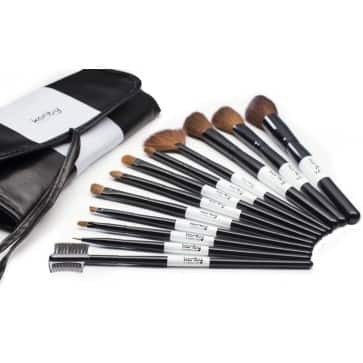Professional Studio Quality 12 Piece Natural Cosmetic Makeup Brush Set w/ Pouch in Black $6.50 + Free Shipping