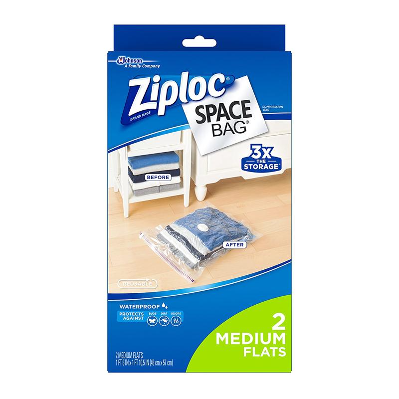 2-Count Ziploc Space Bags (Medium Flats) $3.99 + free shipping