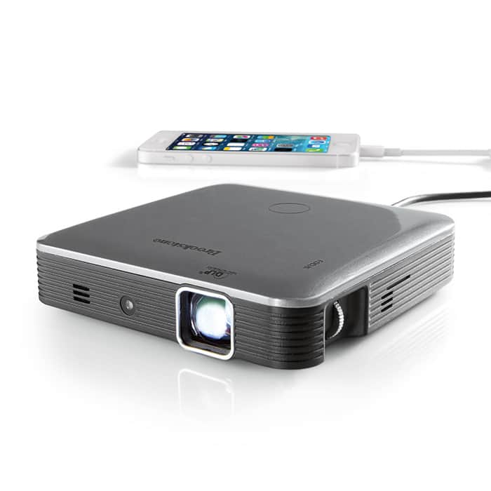 Brookstone pocket 200 lumens 720p projector pro with dlp for Brookstone pocket projector micro