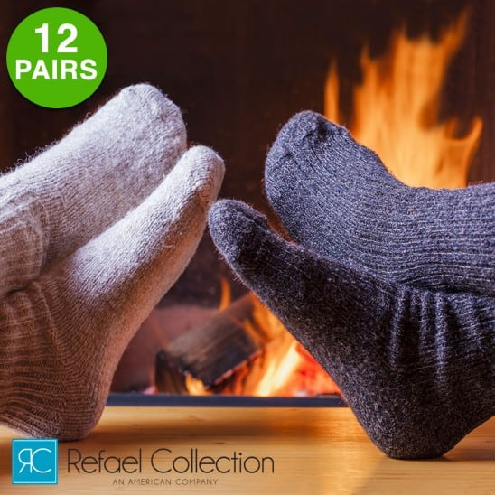 12 Pairs Extreme Weather Wool Blend Socks by Refael Collection $17.99 + Free Shipping
