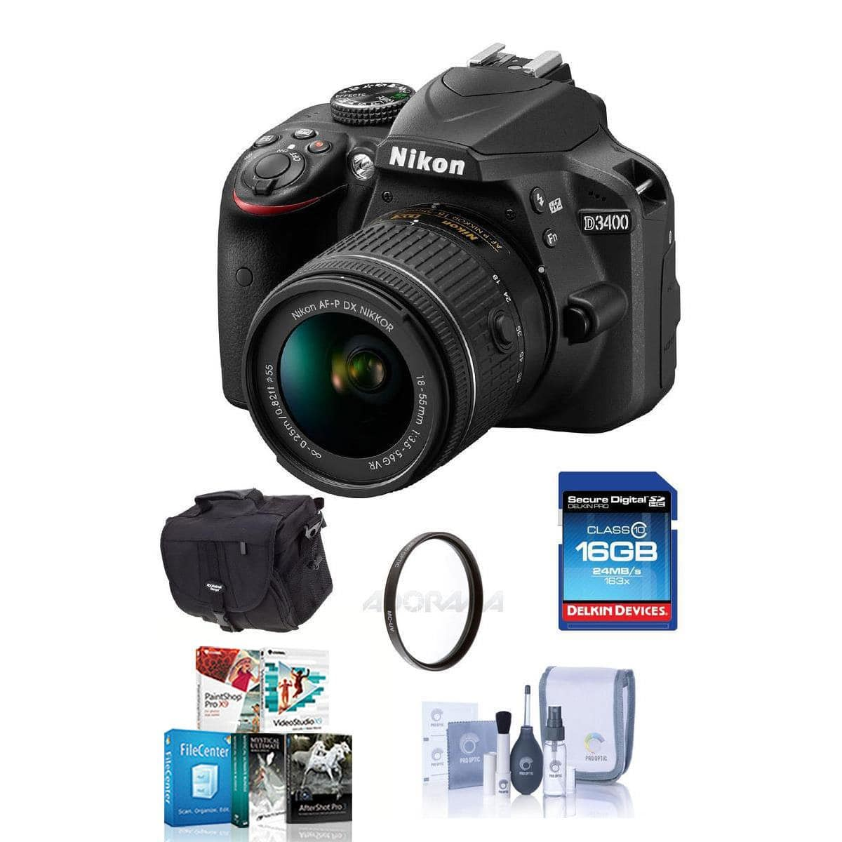 Nikon D3400 DSLR Body - NEW $397, Nikon D3400 DSLR with 35/1.8, 18-55mm 70-300mm ED Lenses, Red  $697, D7200 Body $797 and ships free