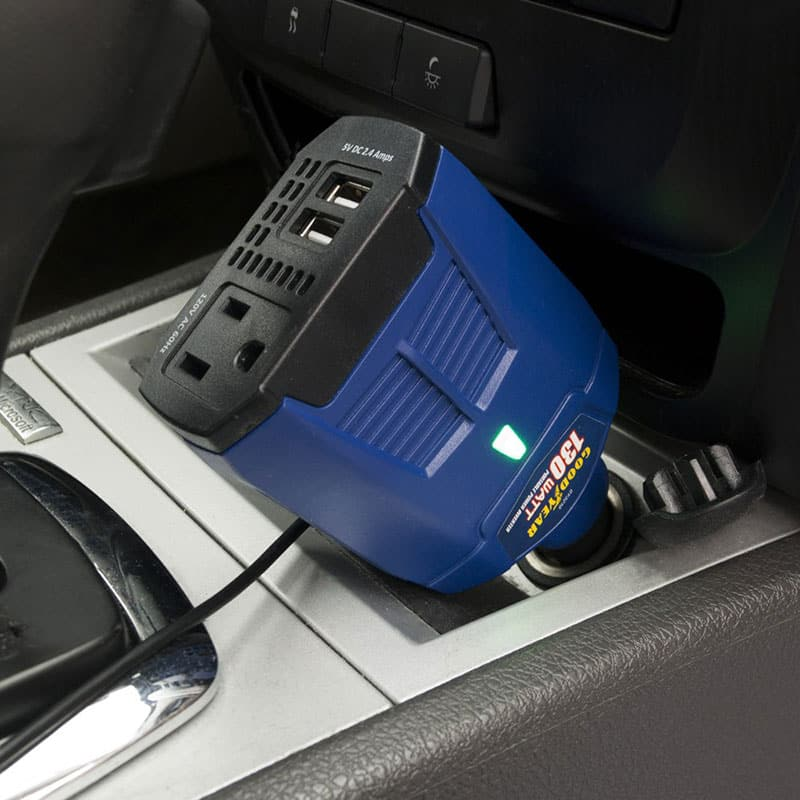 GoodYear 130-Watt Power Inverter with AC Outlet and 2 USB Ports $12.99 + free shipping