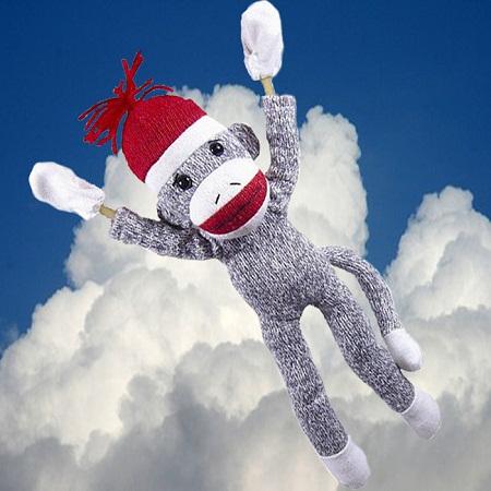 Screaming Flying Sock Monkey $5.50 + free shipping