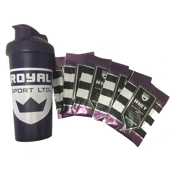 24oz Royal Shaker Bottle + 5-Pack of Ultra Clean Royal Sport Whey Isolate Protein Powder $6.95 + Free shipping