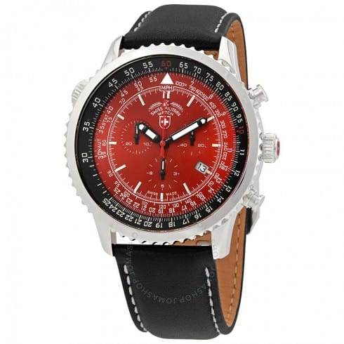 Swiss Military Men's Thunderbolt Watch w/ Leather Strap (Red or Green Dial) $299 + Free Shipping