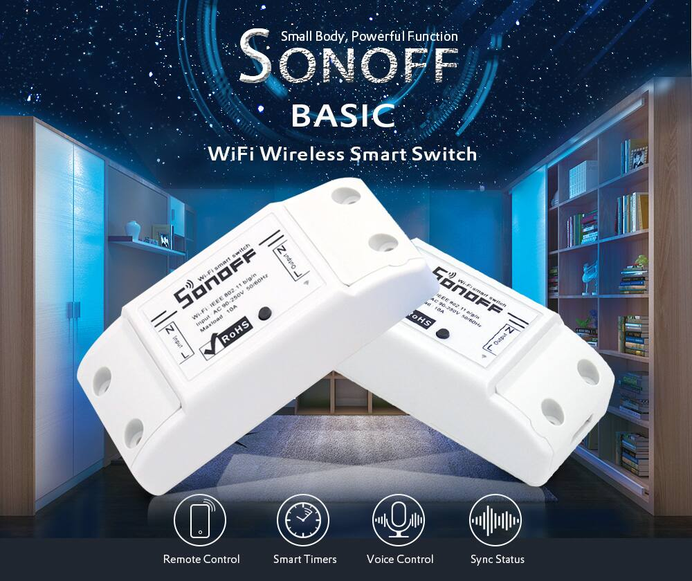 6e0bb51330 SONOFF BASIC Dual Channel WiFi Wireless Smart Switch for DIY Home Safety   4.09 + Free Shipping