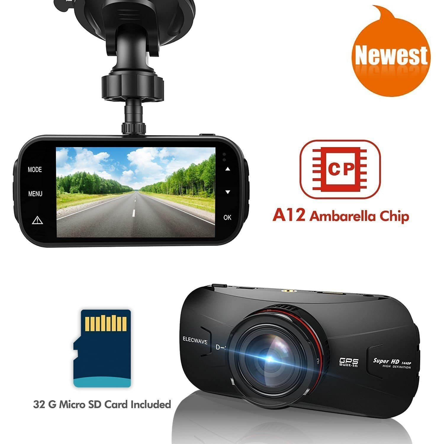 Elecwave EW-D300 1440P 2K Ultra Full HD 170 Degree with GPS  DVR  Car Dash Camera -$44.99 + Free Shipping