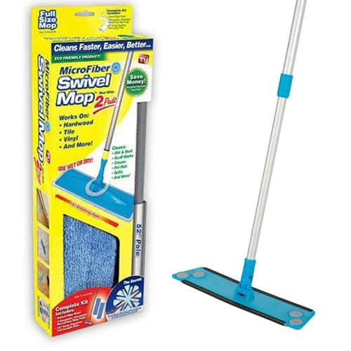 Microfiber Swivel Mop with 2 Reusable Mop Pads $12.99 + Free Shipping