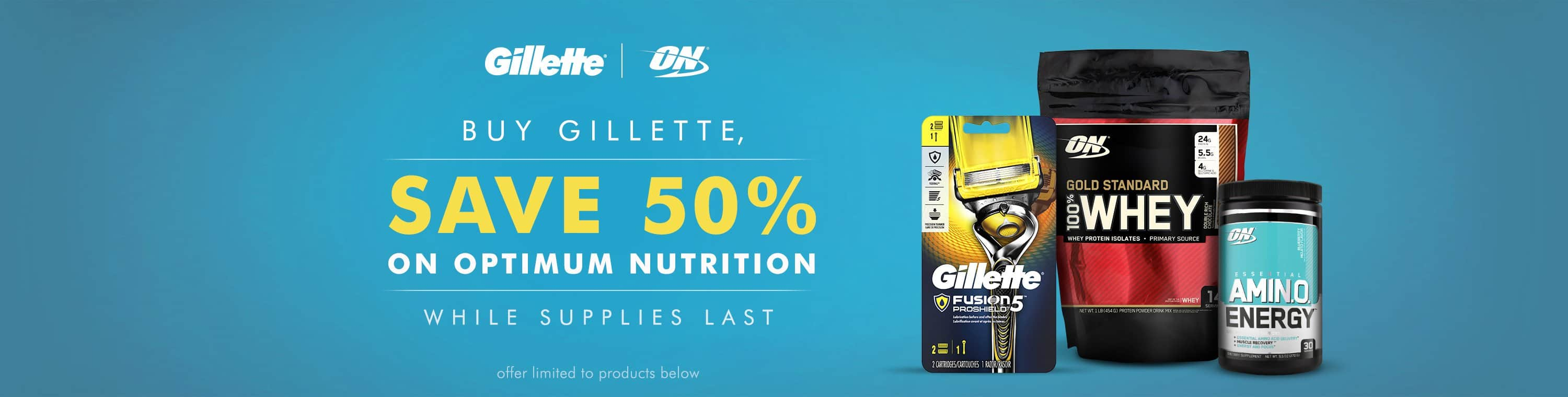 Gillette Fusion5 ProShield Men's Handle w/ 2 Razor Blade Refills + 1-lb Optimum Nutrition Gold Standard 100% Whey (Double Rich Chocolate)  $15.95