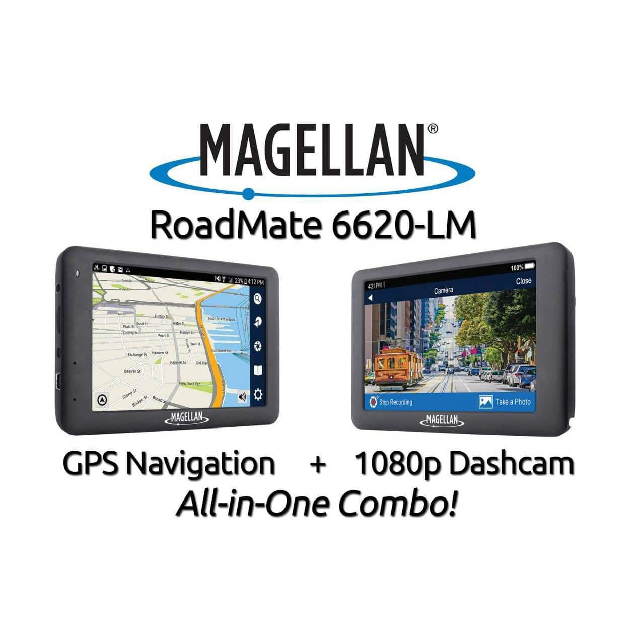 "Magellan RoadMate 6620-LM GPS + 1080p HD Dash Cam Combo 5"" Lifetime Map Updates $55.19 AC + Free Shipping"