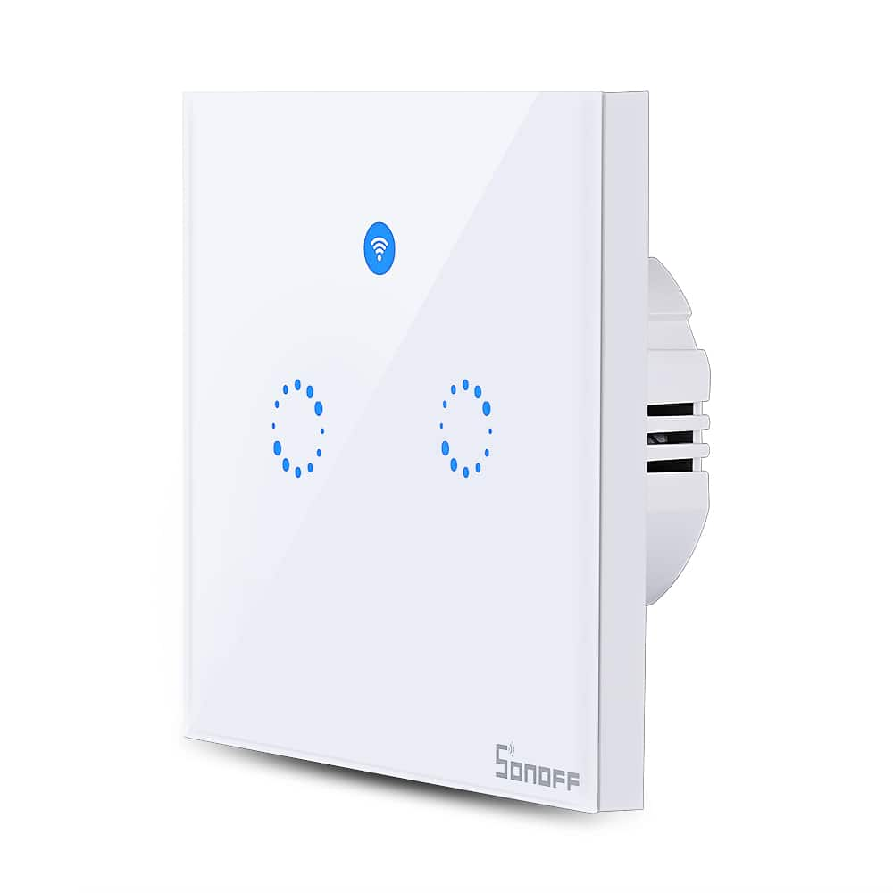 SONOFF T1 Double Gangs WiFi and RF 86 Type Smart Wall Touch Light Switch - White - $13.99 + Free Shipping