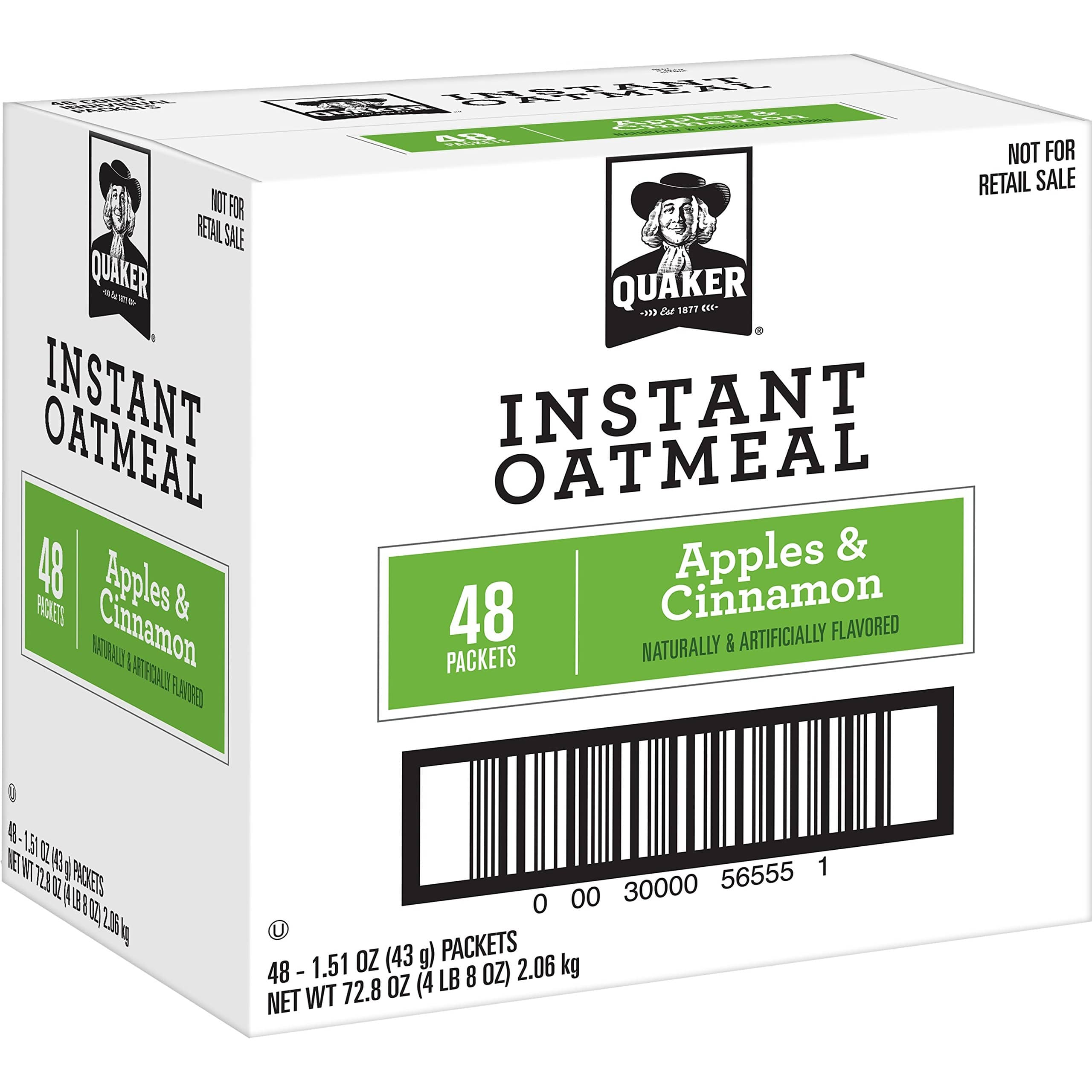 12-Pack Quaker Instant Oatmeal Express Cups (Apples & Cinnamon) $7.72 + free shipping with prime