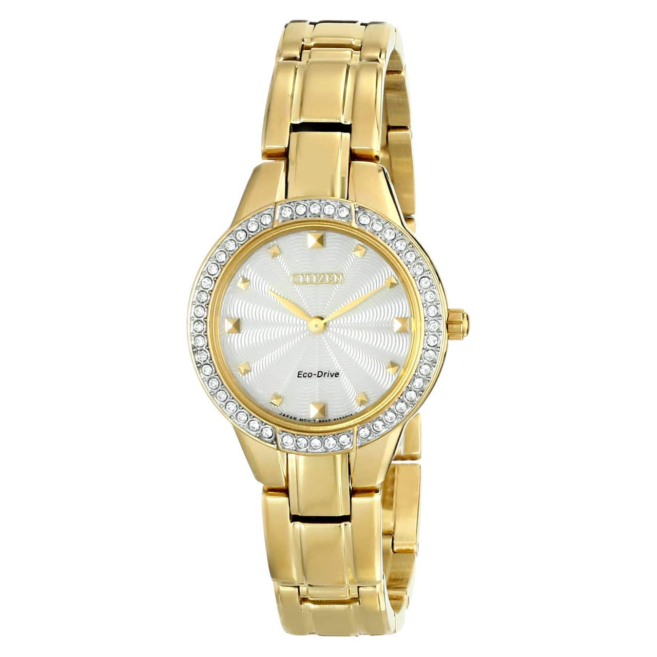 Citizen EX1362-54P Eco Drive Gold Tone Champagne Dial Women's Silhouette Watch $89.30 + Free Shipping