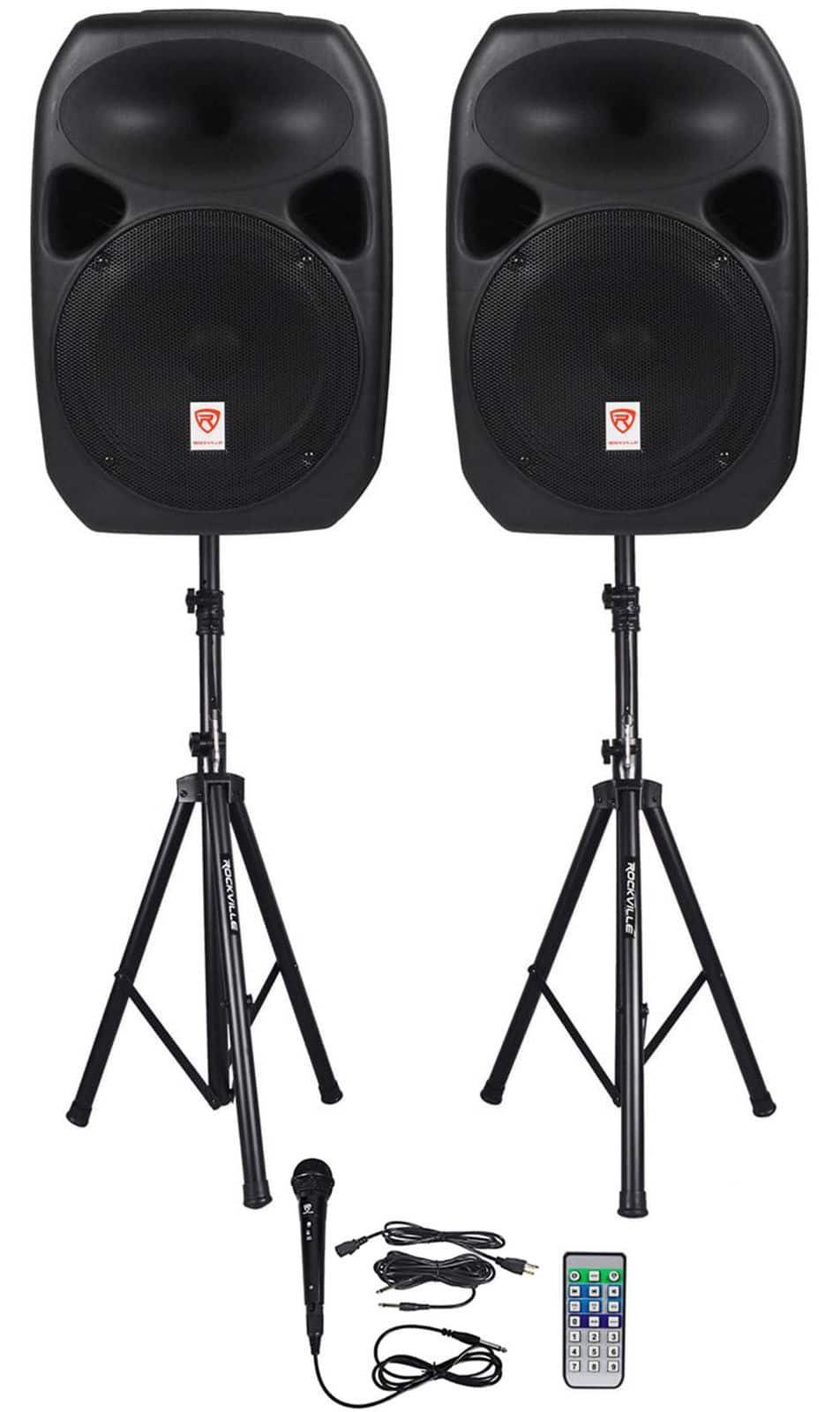 "Rockville RPG122K Dual 12"" Powered Speakers, Bluetooth+ Mic+ Speaker Stands+ Cables - $211.55 + Free Shipping"