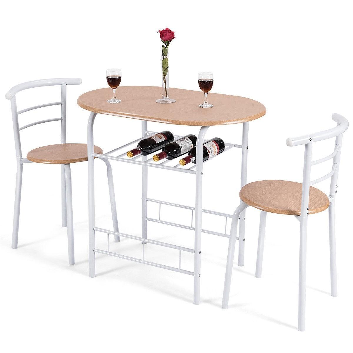 Costway Home Kitchen 3 pcs Bistro Pub Dining Table 2 ...