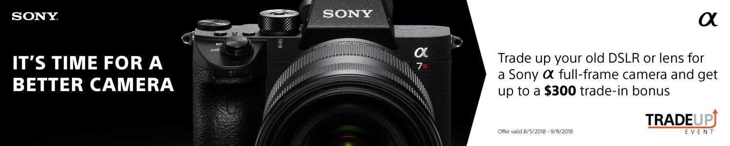 up to $500 off Select Sony Cameras, Lenses when you trade in any working interchangeable Camera or Lens (beach camera)