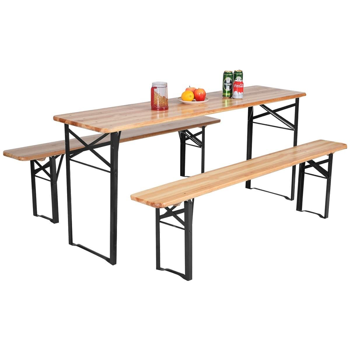 Outstanding Costway 3 Pcs Folding Wooden Picnic Table Bench Set Squirreltailoven Fun Painted Chair Ideas Images Squirreltailovenorg