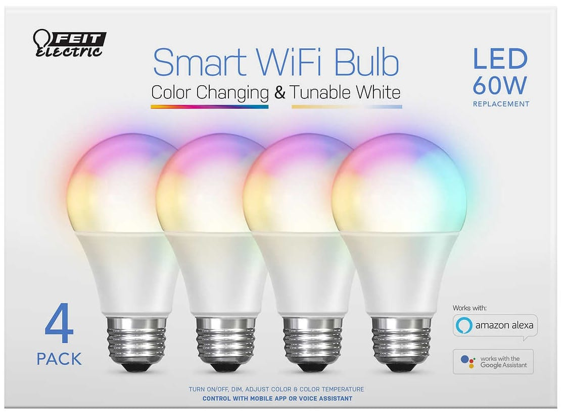 FEIT 2-pack Smart WiFi Color Changing LED bulbs $16.99 + TAX @ Costco B&M YMMV