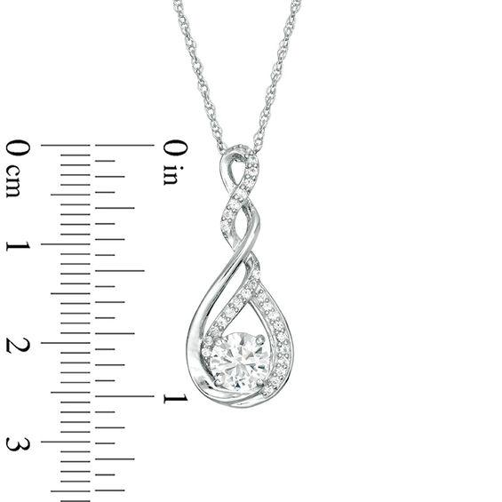 5d0962da9a462e 6.0mm Lab-Created White Sapphire Twist Infinity Pendant in Sterling Silver  $19.99