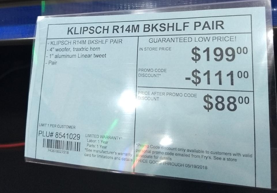 Klipsch r14m book shelf speakers $88 at Fry's ac