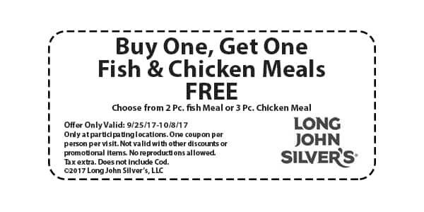 Long John Silver's Buy One, Get One FREE Meals
