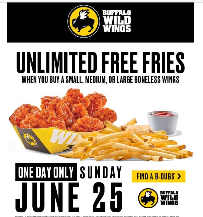 Unlimited FREE fries at Buffalo Wild Wings 6/25 with S, M, or L wing order