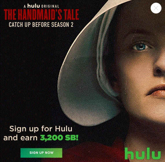 Sign up for Hulu and earn 3,200 Swagbucks (new and eligible
