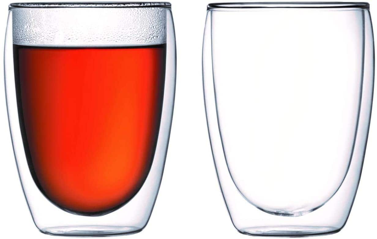 Amazon.com | Bodum Pavina Glass, Double-Wall Insulate Glass, Clear, 12 Ounces Each (Set of 2): Tumblers: Mixed Drinkware Sets $18