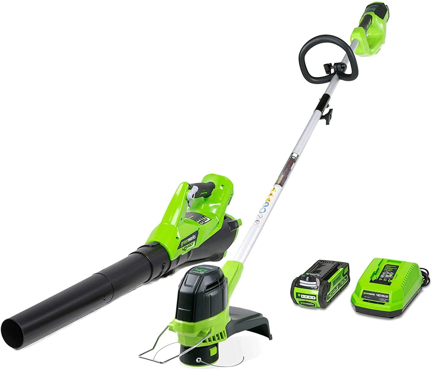 Greenworks G-MAX 40V Cordless String Trimmer and Leaf Blower Combo Pack, 2.0Ah Battery and Charger Included STBA40B210 - $116.99