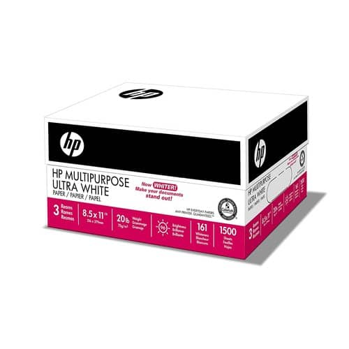 HP Paper, Multipurpose Ultra White, 20lb, 8.5x11, Letter, 96 Bright, 1,500 Sheets / 3 Ream Case $7.87 after 15% coupon and 10% S&S discount
