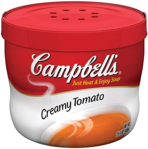 Campbell's Creamy Tomato Microwave Bowl Soup, $0.60 after 20% coupon (Amazon Pantry item, so $35 minimum for free shipping)