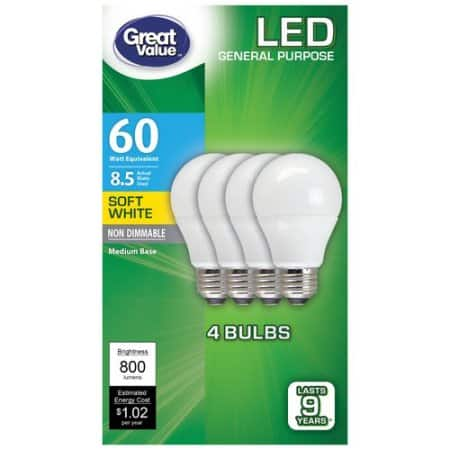 Great Value Soft White 60W LED light bulb Non-Dimmable for $2.17 OR Dimmable for $3.82 at Walmart.com