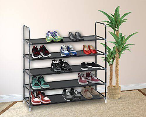 5/10 Tier Shoe Rack Wall Tower Cabinet Storage Organizer Black Home Holder Shelf $12.99 + fs @ebay