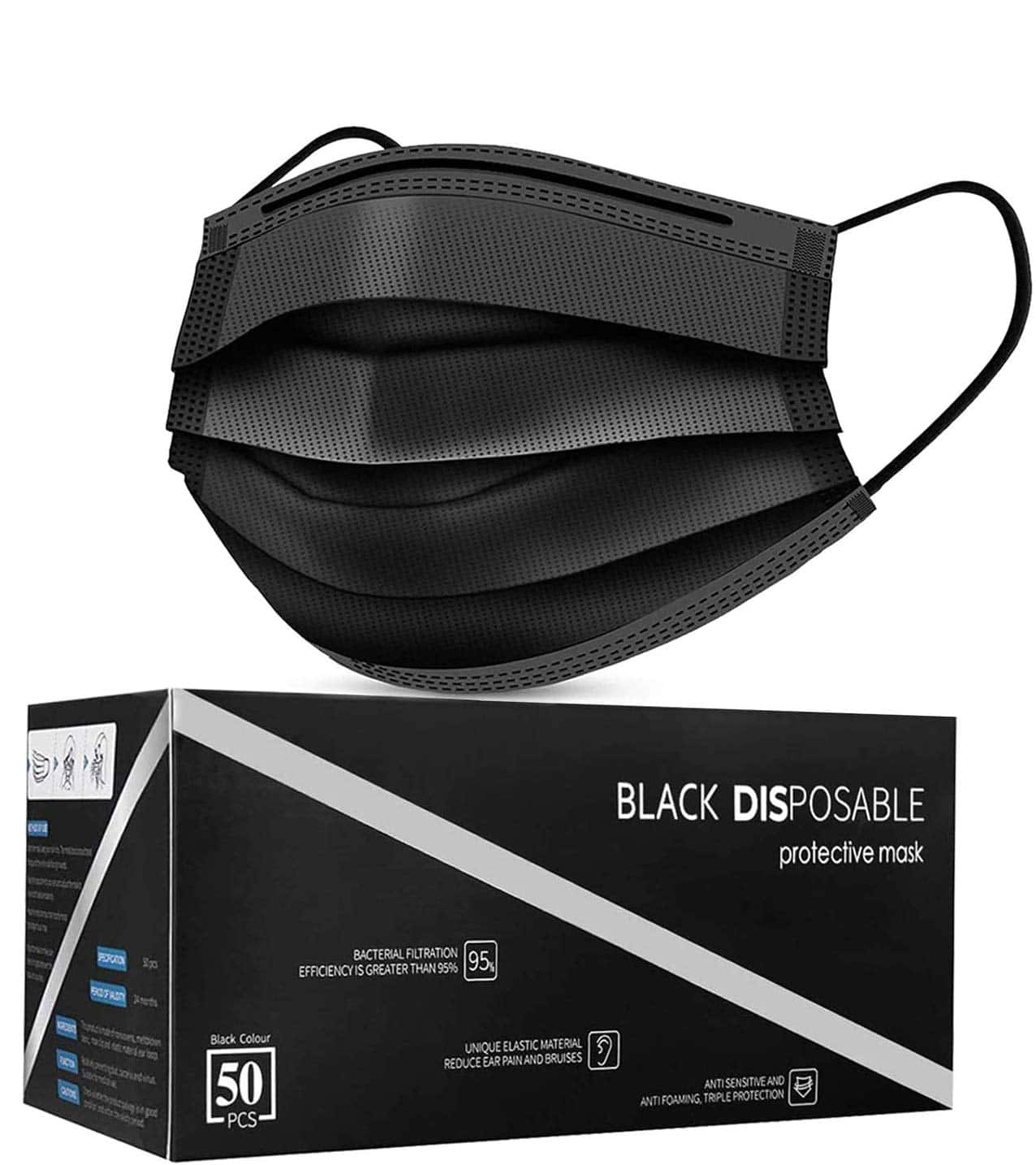 Amazon.com: Disposable Face Masks, Pack of 50 Black Face Masks: Industrial & Scientific $6.96