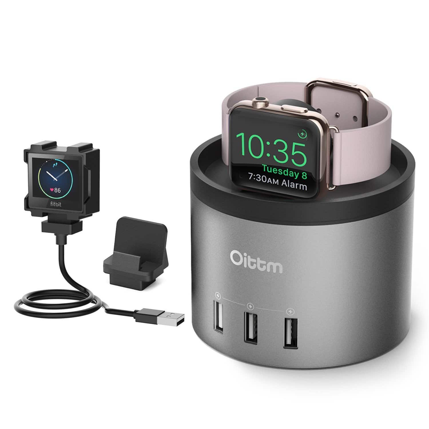 Oittm 3 in 1 Charging Dock for Apple Watch Series 1/2/3, iPhone8/7S/7S Plus/7/7 Plus/6/Fitbit Blaze & Other USB Devices - $19.87 AC+FS