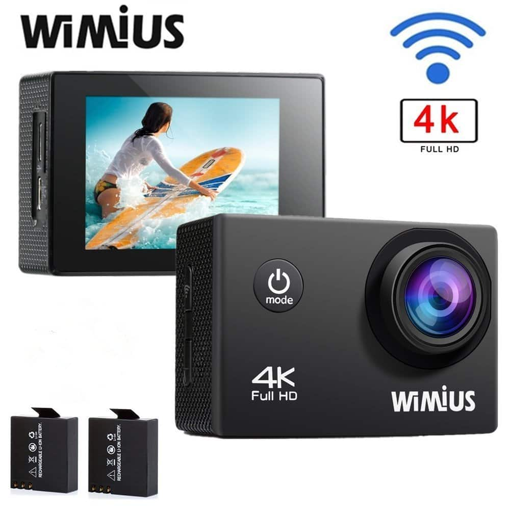 WIMIUS Q1 4K Action Camera Wifi Ultra HD 16MP Waterproof Sports Camera 2.0'' 170°Wide Angle $24.99 (50% off)