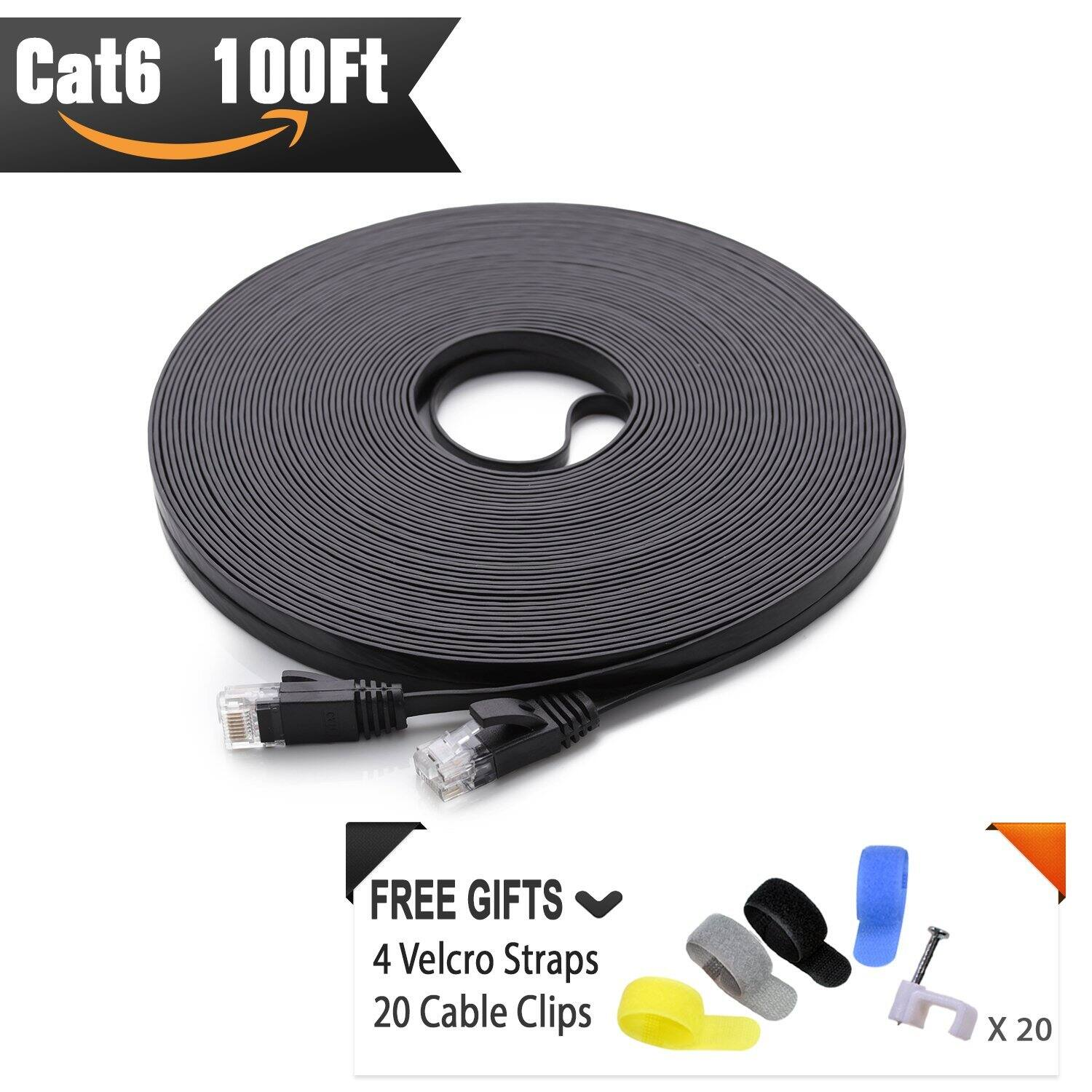 Cat6 Flat cable 100ft with Snagless RJ45 Connectors $9.54 AC + FS with Prime