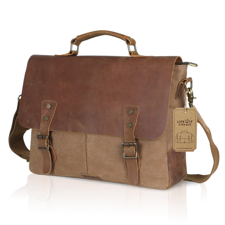 "Lifewit Genuine Leather Vintage 15.6"" Laptop Bag Canvas Messenger Satchel Briefcase for Men, Coffee $35.99"