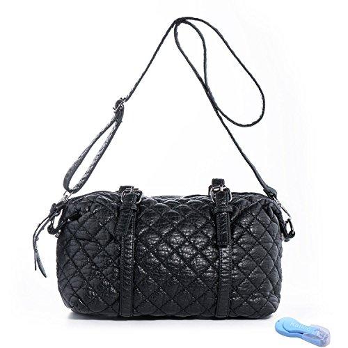 60% Off Shoulder Bag Synthetic Leather Handbag Crossbody Satchel Purse for Women at $7.96 to $8.80 Black/Blue AC+FS @Amazon
